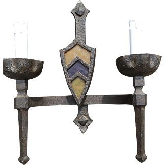 Pair Wrought Iron Wall Sconces Knight Castle Design