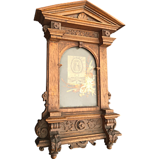 Swiss 19th Century Carved Wood Picture Frame