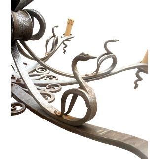 Vintage Wrought Iron Chandelier w. Swan