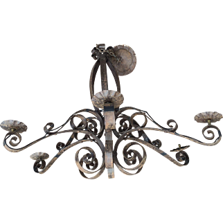 Wrought Iron Art of Curled 6 light Chandelier