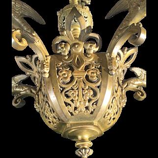 19thC Dragon Design Bronze Neo-Gothic Art 5 light Chapel Chandelier