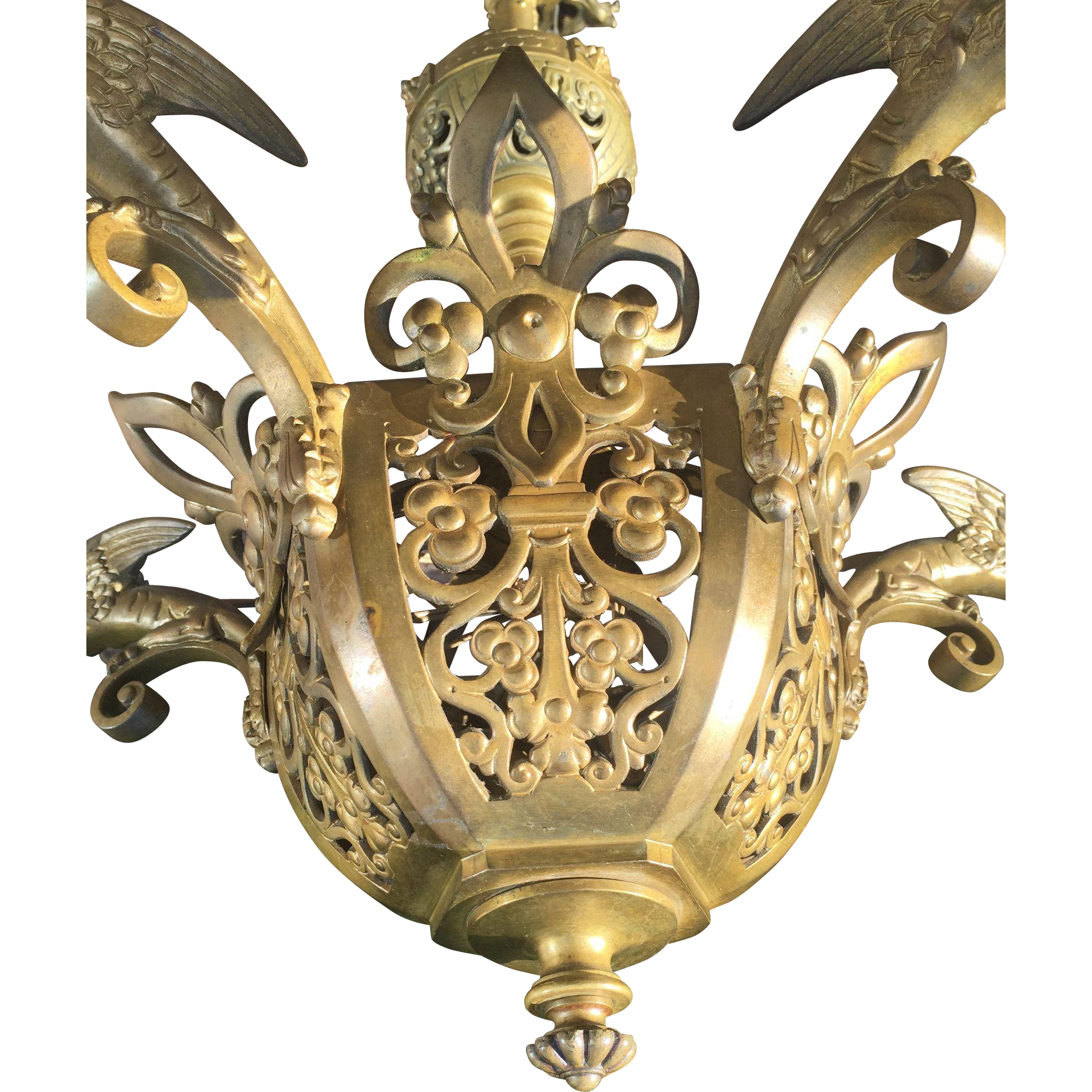 19thC Dragon Design Bronze Neo Gothic Art 5 light Chapel