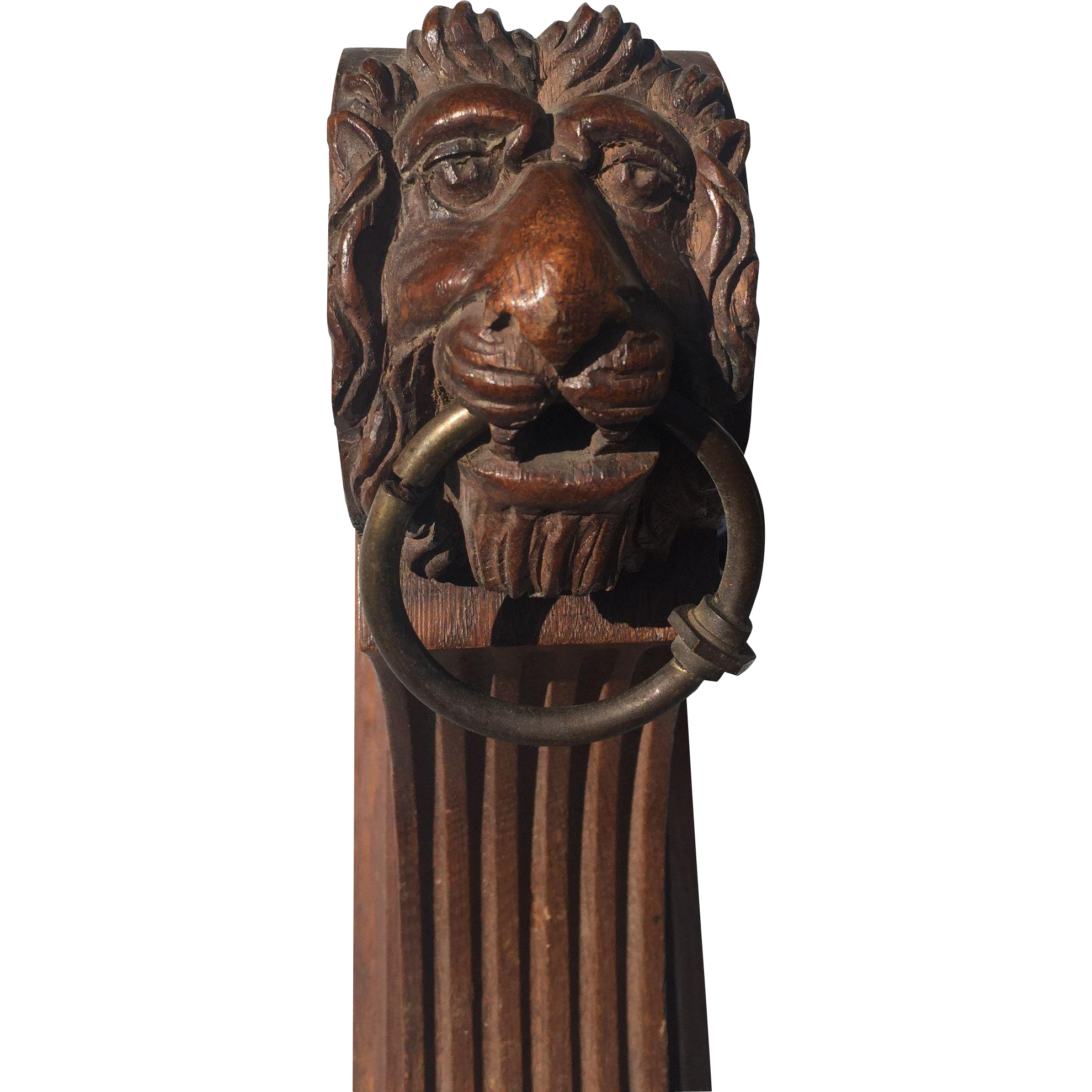 Pair Curtain PoleE Rod Holders Brackets Lion 19th Century