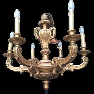 Viennese Gilded Sculptured Wood Chandelier