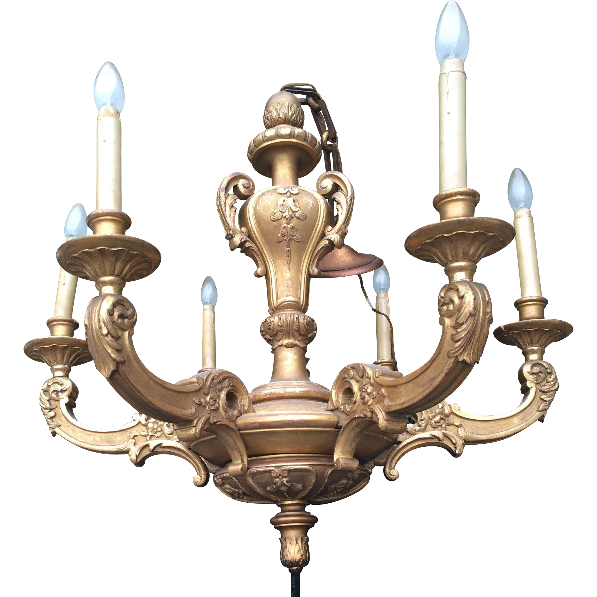 Viennese Gilded Sculptured Wood Chandelier