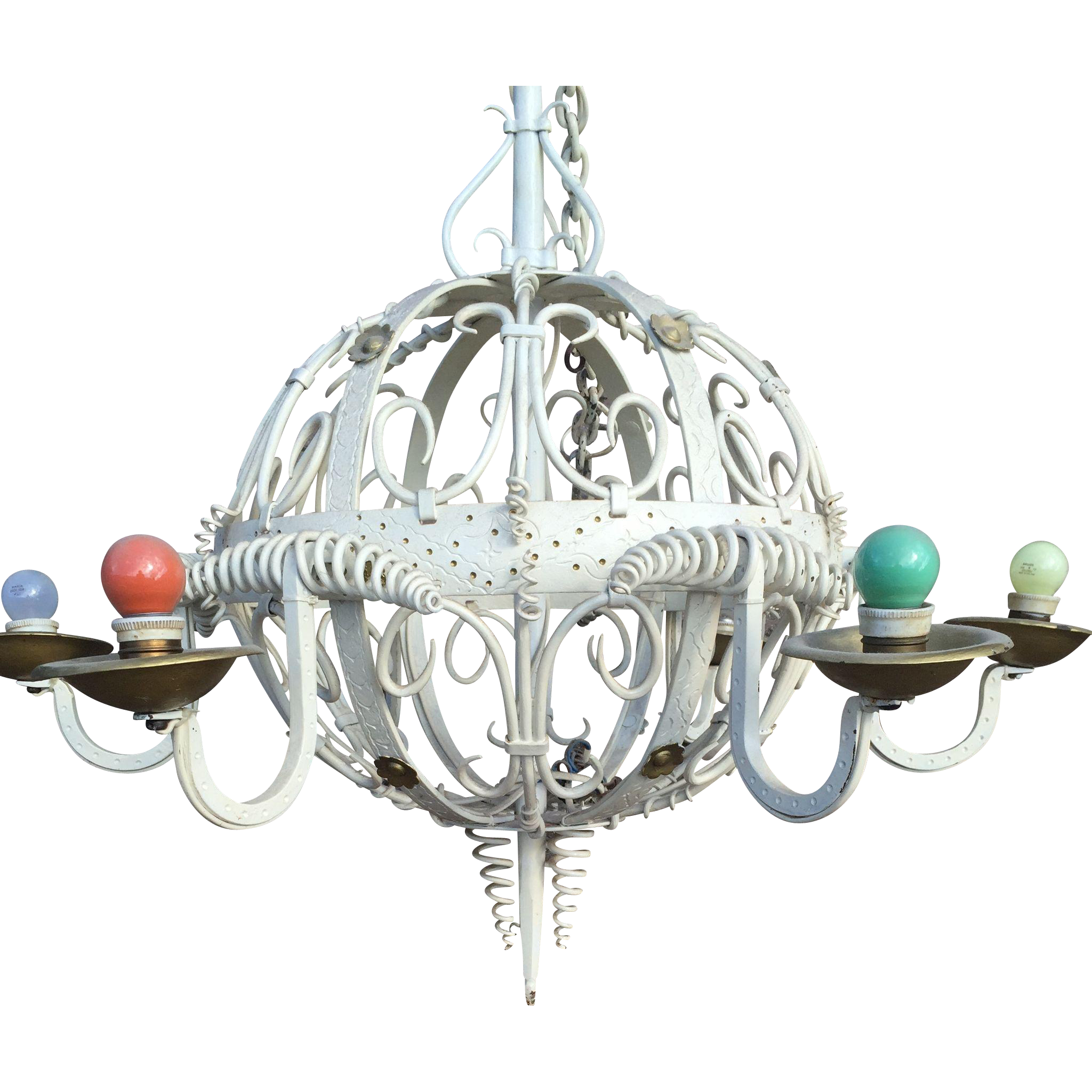 Huge Chandelier Wrought Iron 6 Arm Vintage Design
