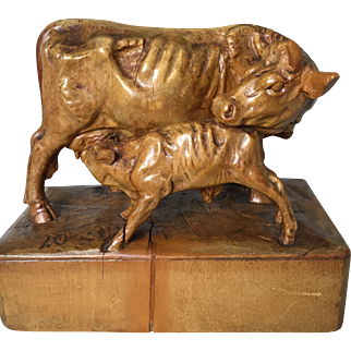 Boxwood Model of a Cow and Suckling Calf