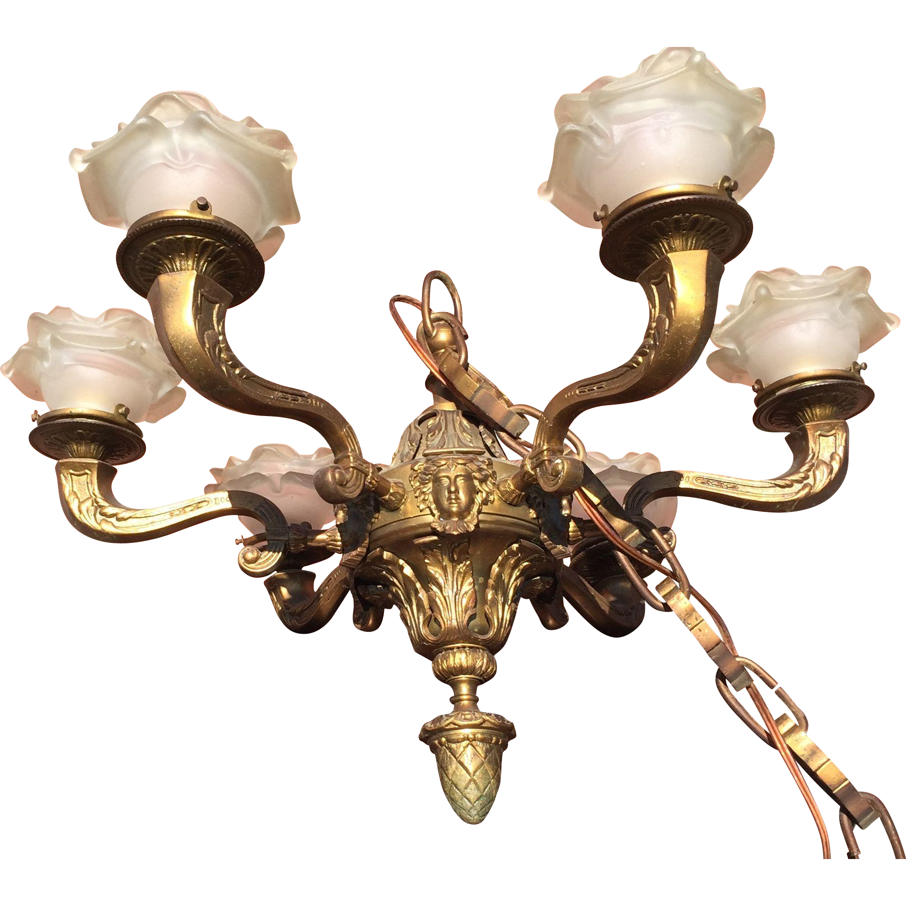 Bronze Empire Chandelier with Glass Shades