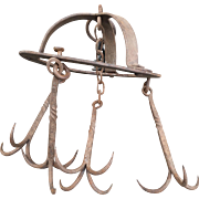 Wrought Iron Meat Game Hanger Crown Hunting