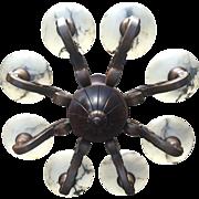 Walnut 8 light Chandelier Alabaster Shades