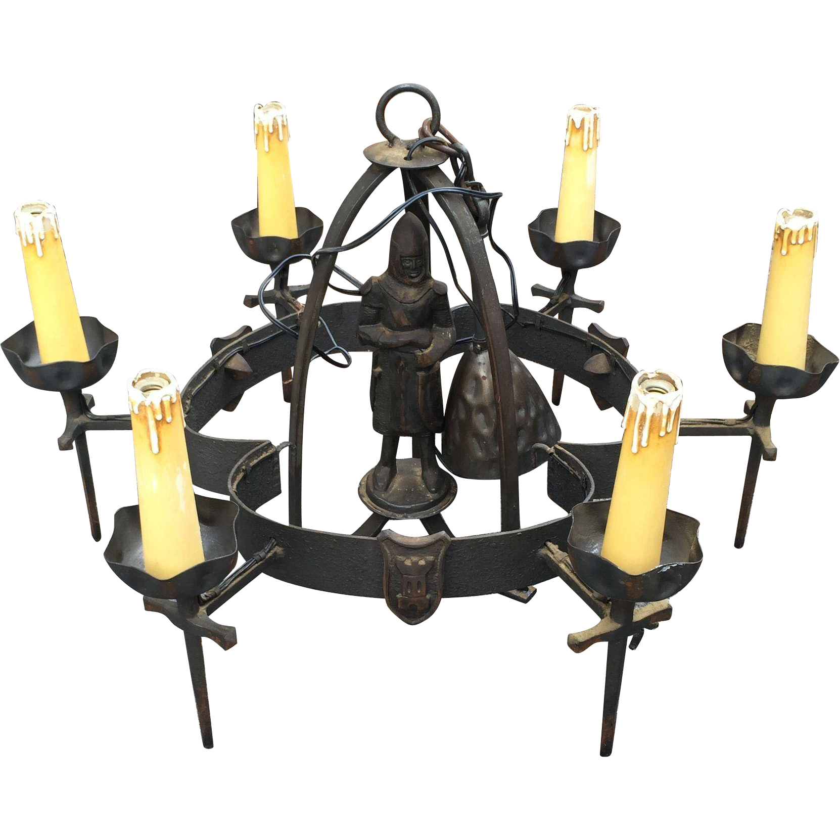 Vintage Iron Knight Castle Art Chandelier