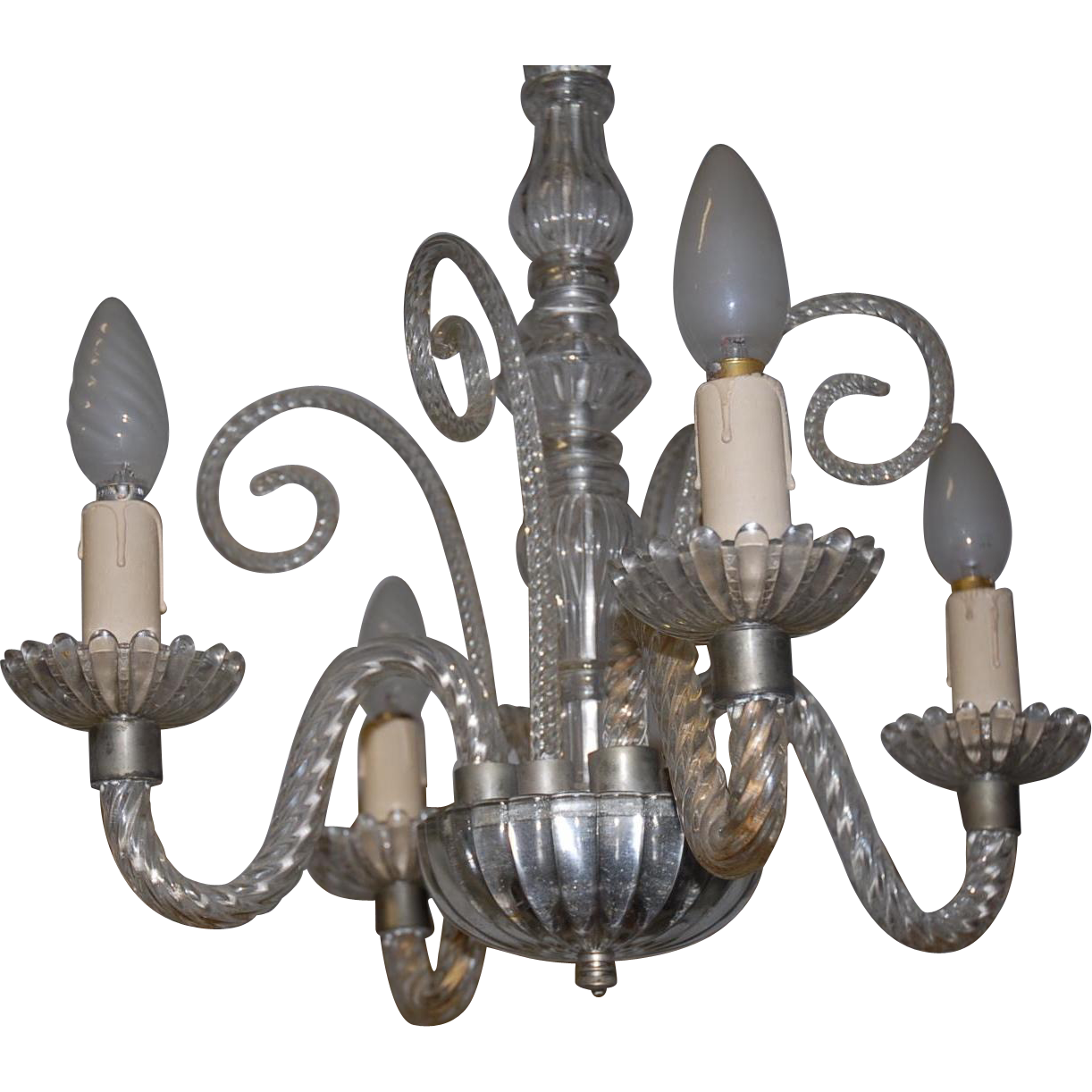 Antique 4 light Glass Chandelier