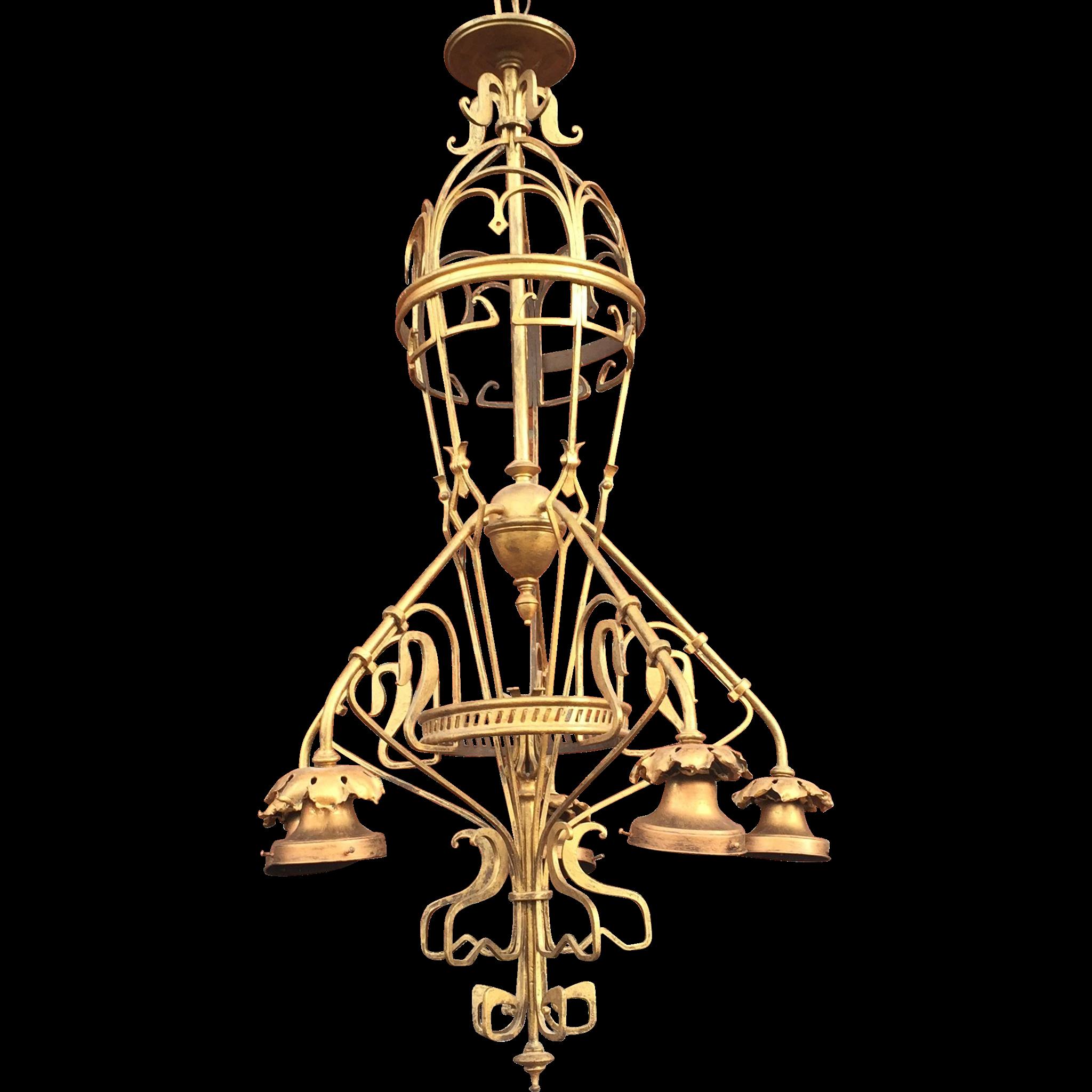 Gustave Serrurier-Bovy Iron Brass Chandelier Art Nouveau