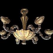 Antique Venetian Painted Wood Chandelier, 6 arms