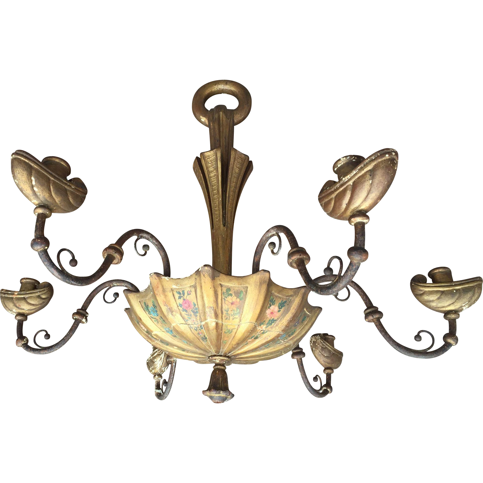 Antique Venetian Painted Wood Chandelier, 6 arms