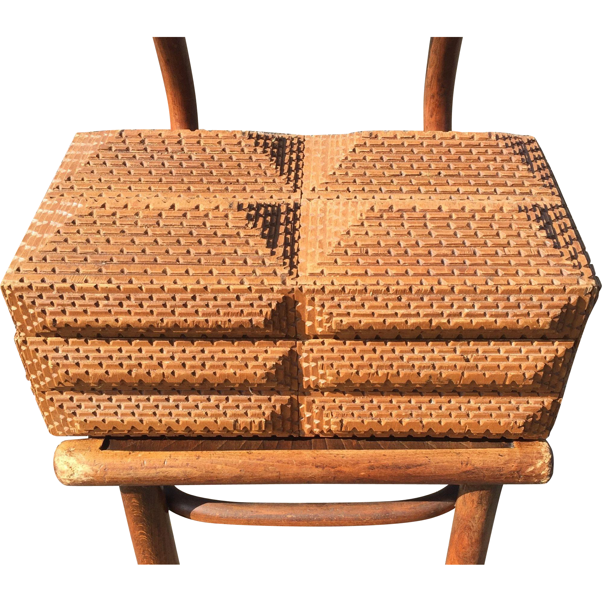 Large Folk Tramp Art Box