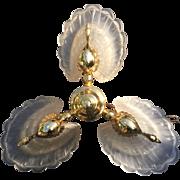 Vintage Brass Gold Peacock 3 light Chandelier