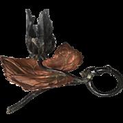 Art Nouveau Wrought Iron Leaf Candle Holder - Stick
