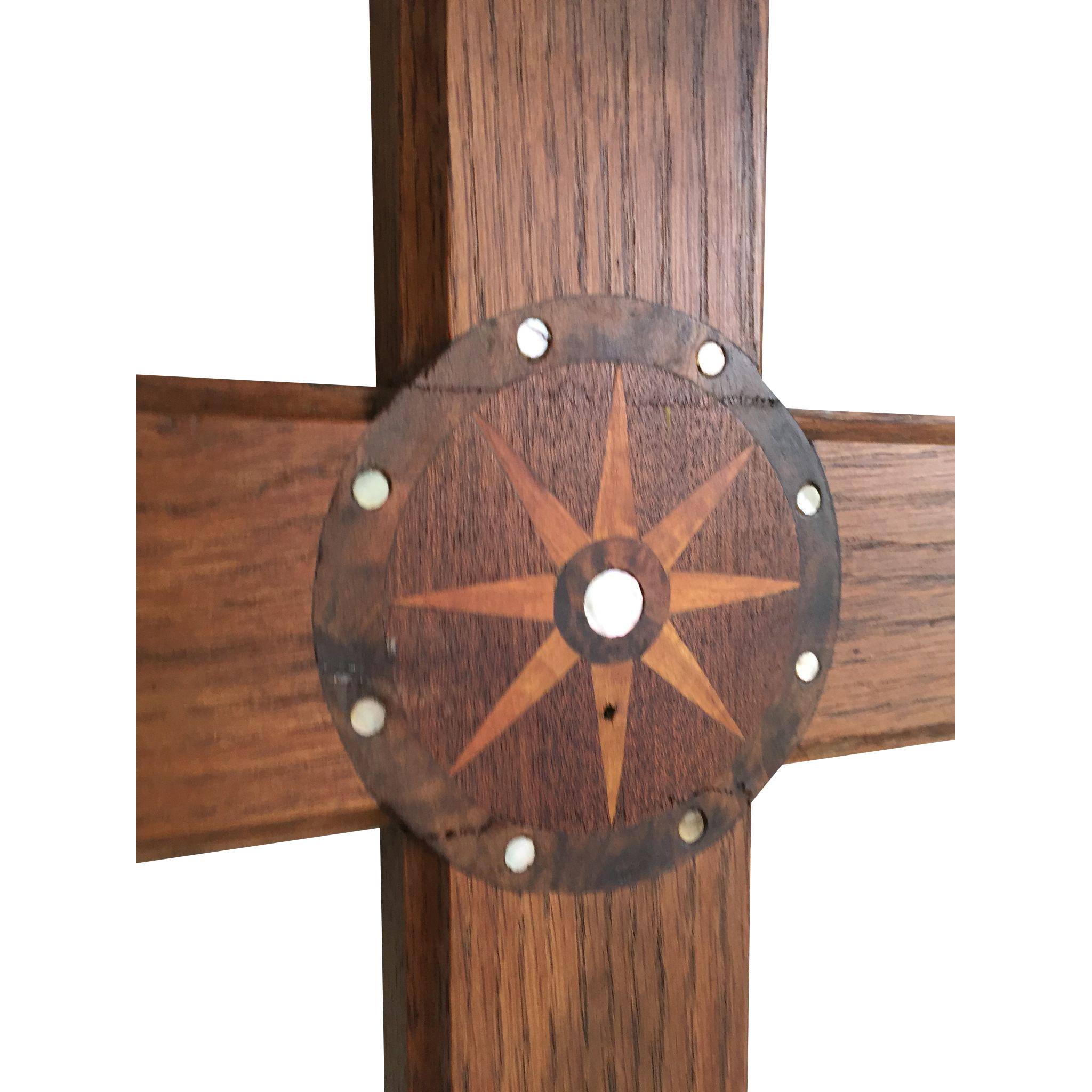Carved Inlaid Wooden Wall Cross Wooden, Inlaid Mother of Pearl