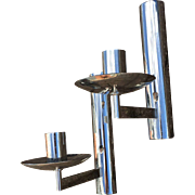 French Vintage Pair Chrome Lighting Sconces