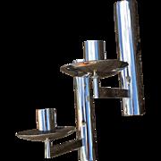 French Vintage Pair Chrome Lighting Sconces