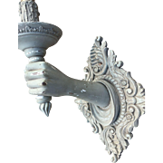 Italian Wooden Human Hand Sconce