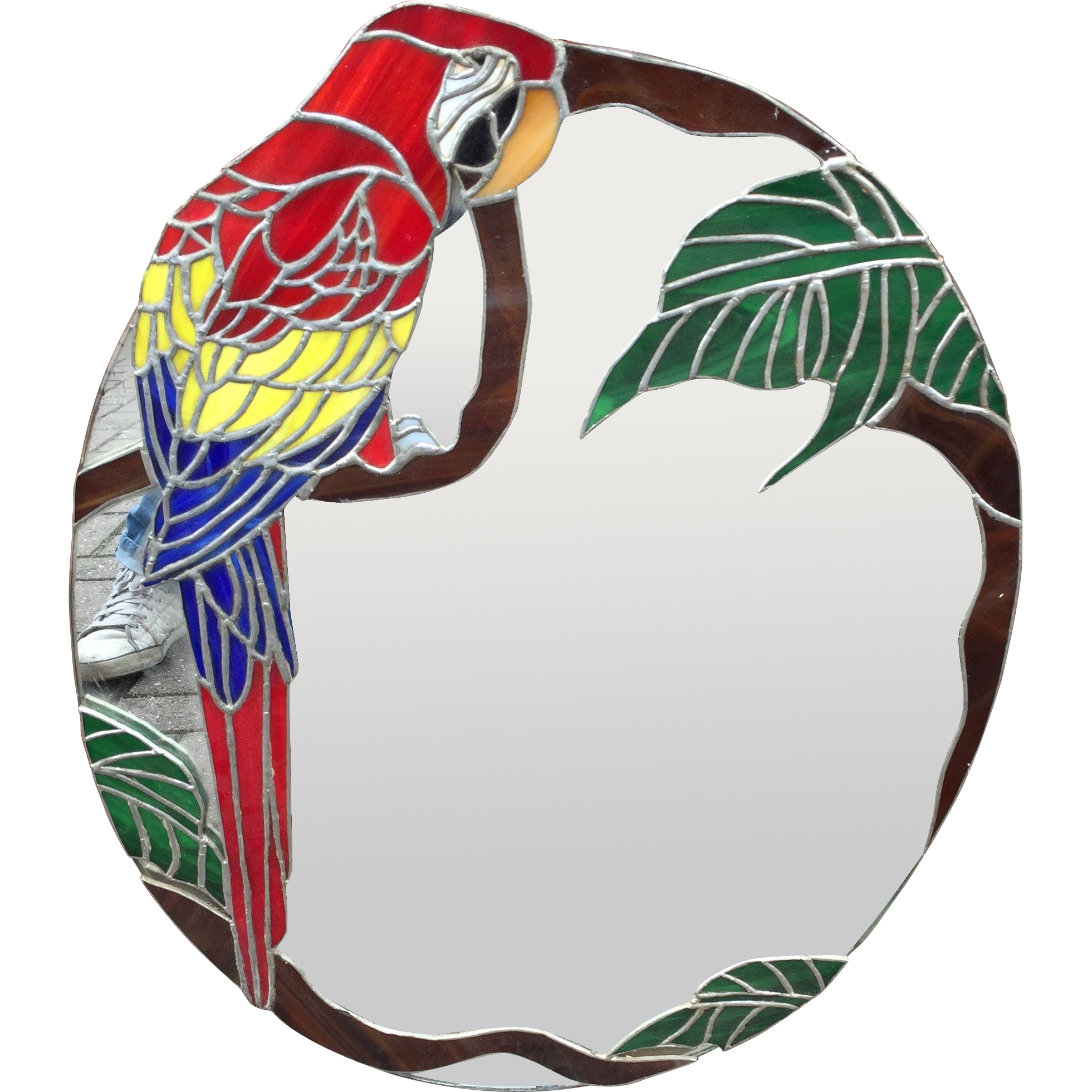 Stained Glass Parrot Wall Mirror