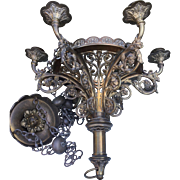 19th Century bronze gothic art chandelier