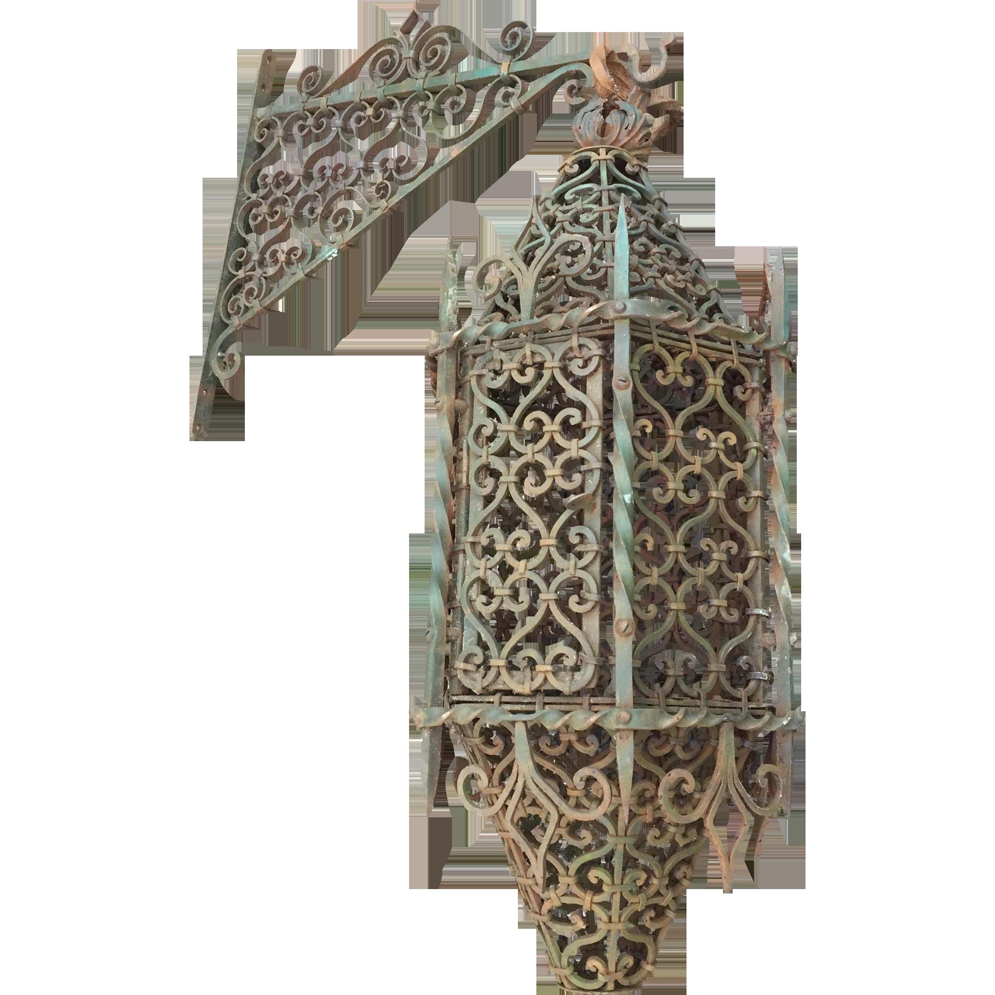 Huge France iron castle lantern with bracket