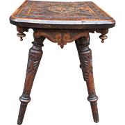 Folk Art Carved Wood Plant Stand - Table