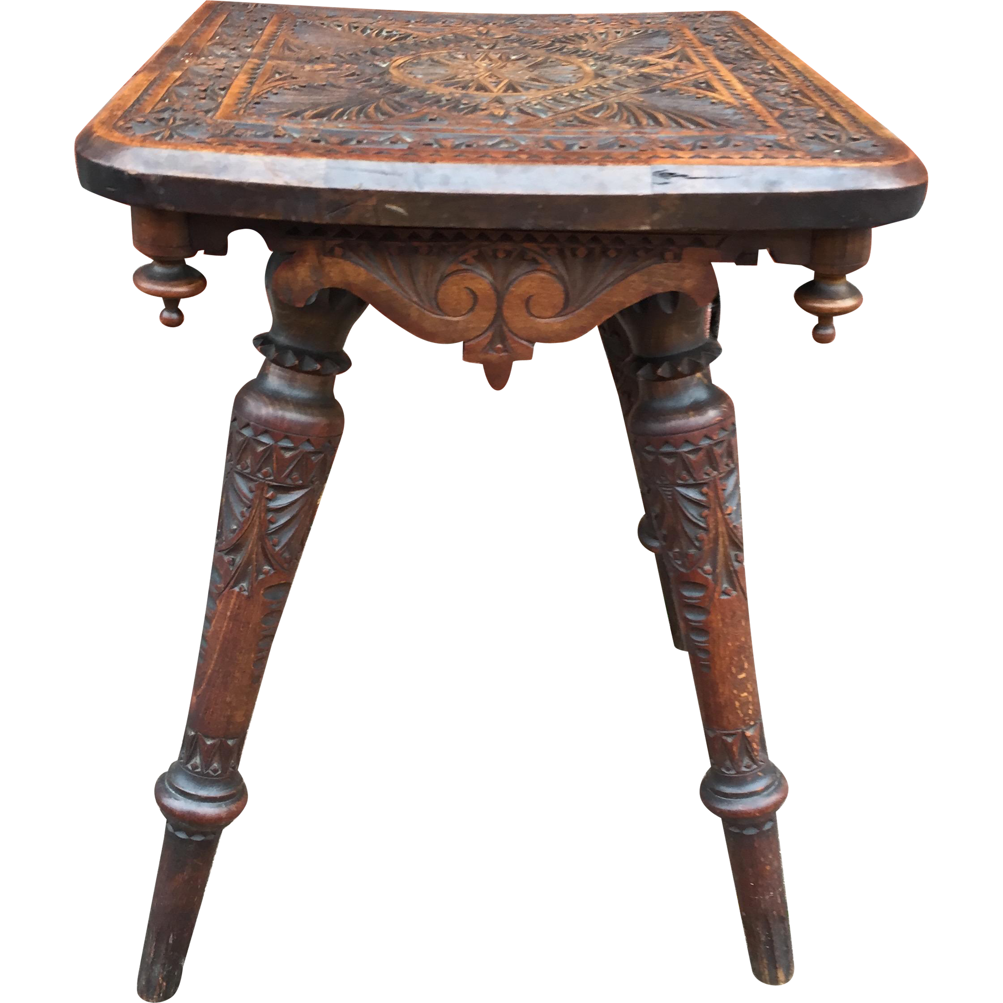 Folk art carved wood plant stand table from