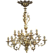 Large Eighteen Light, Bronze Gas Chandelier Putti Lion Decor