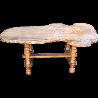 Vintage Handmade Slab Wood Coffee Table