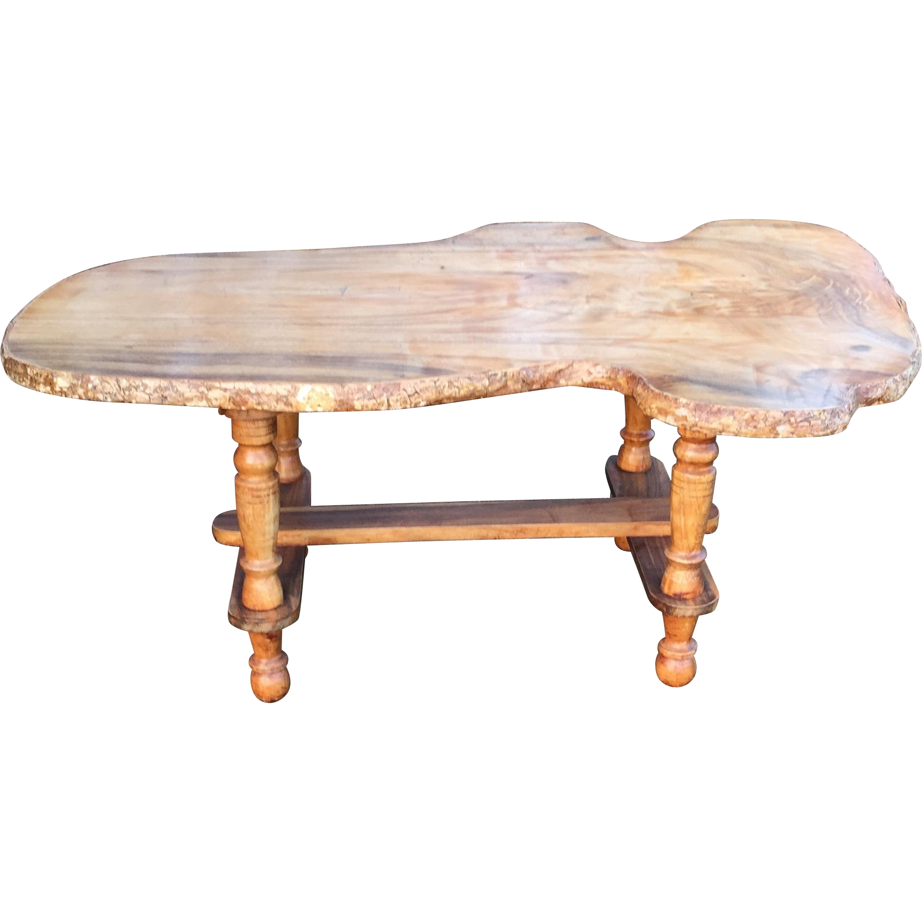Vintage handmade slab wood coffee table from for Wood slab coffee table