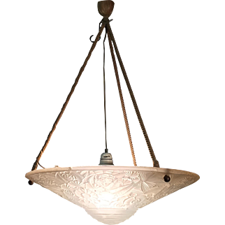 French Art Deco Pressed Glass Pendant Light Decorated with Flowers