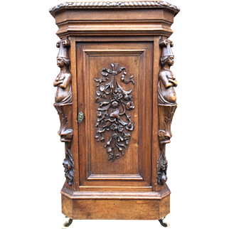 19th Century Carved Walnut Cabinet - Stand with Figure