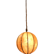 Good Size Globe Design Leather Pendant Light, 1930s