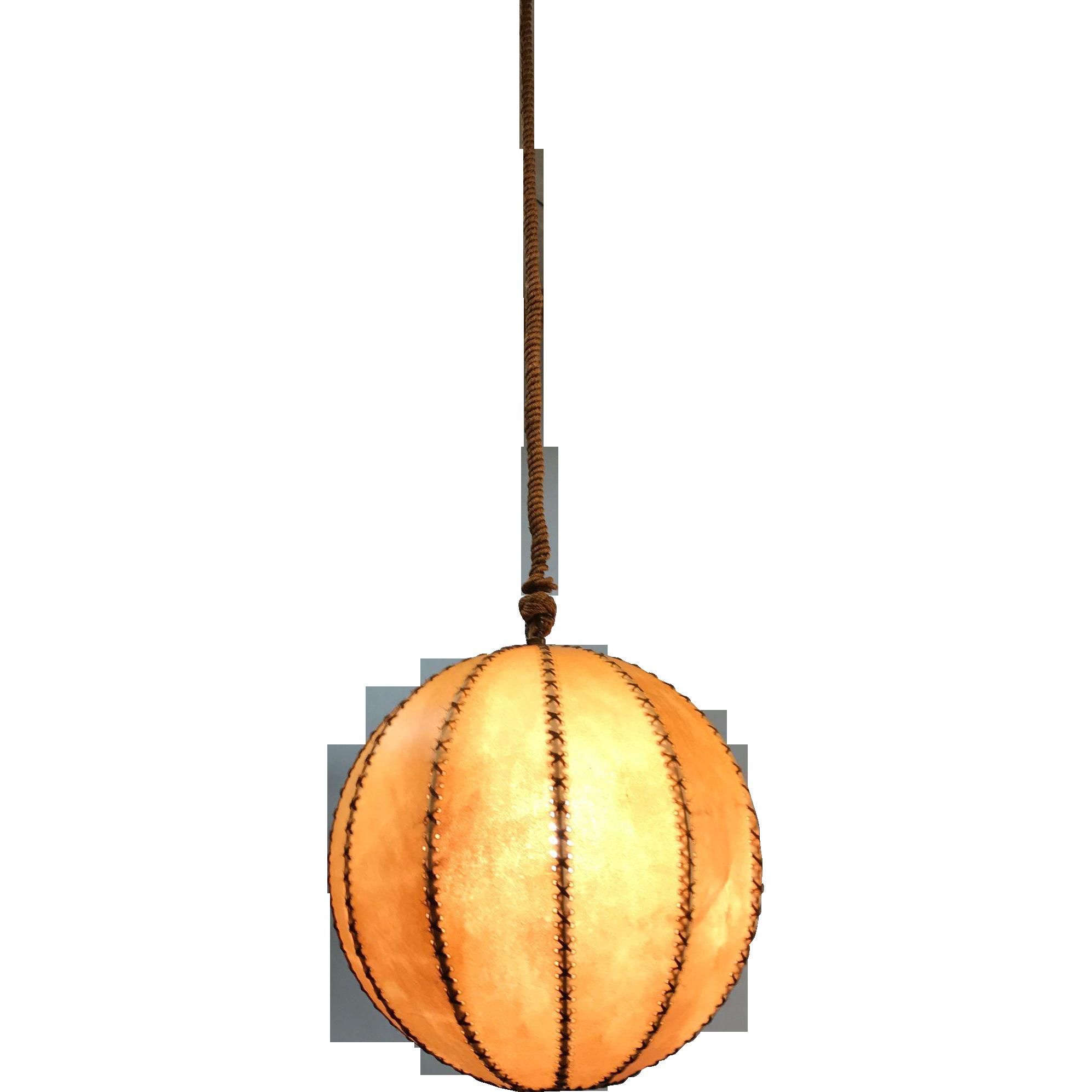 Good Size Globe Design Leather Pendant Light, 1930s