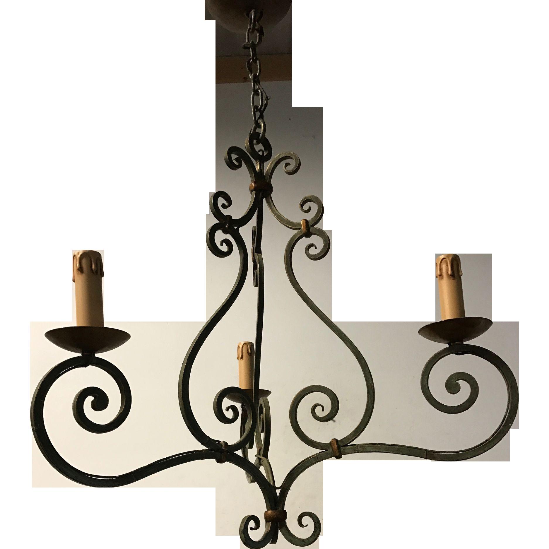 Wrought Iron 3-light Pendant Light Ceiling Fixture