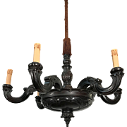 Antique Hand Carved Patinated Six Arm Ceiling Chandelier