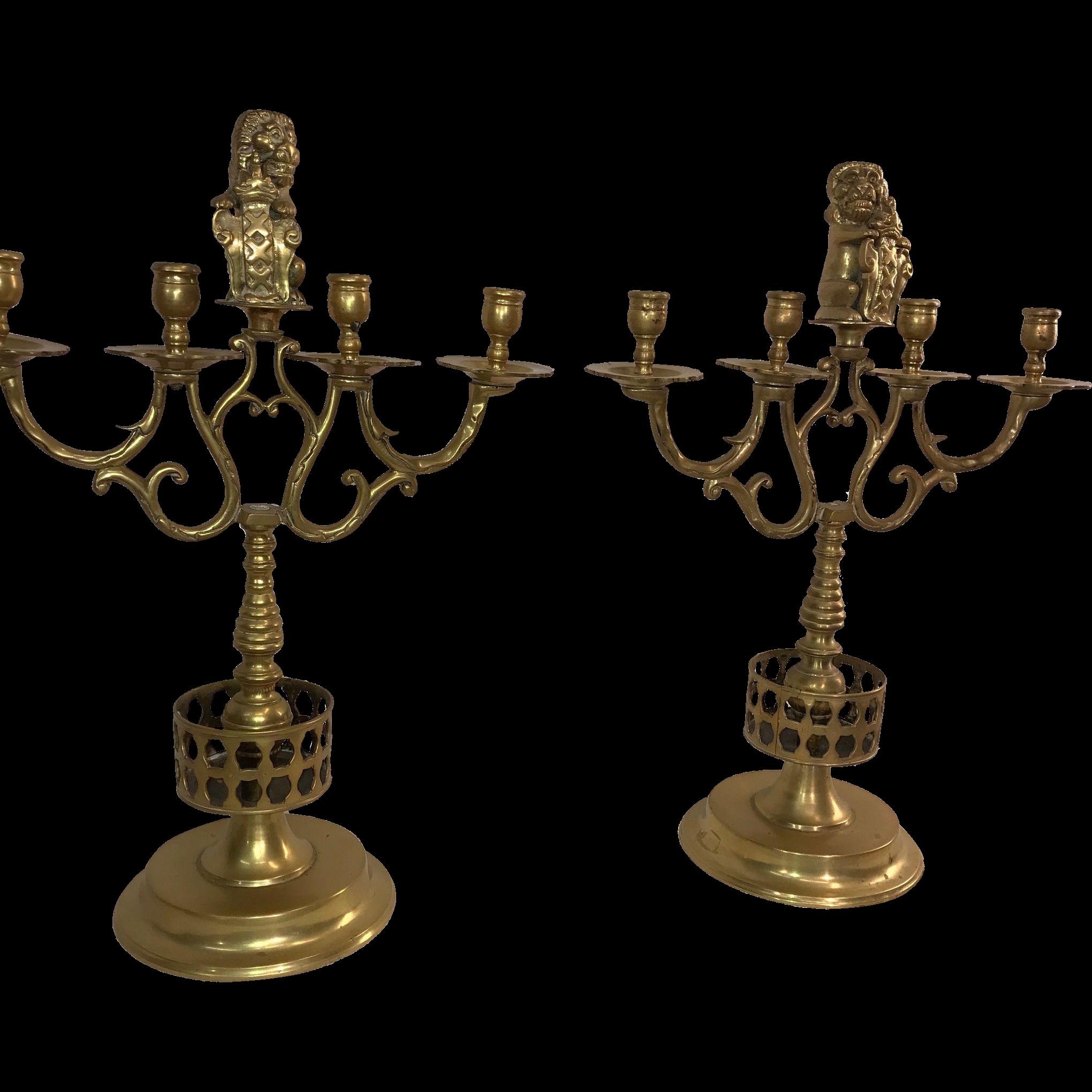 Pair of Bronze Lion Figure Four-Arm Candelabra