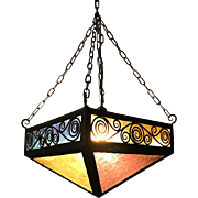 Great Art Deco Wrought Iron with Color Glass Panels Pendant Light