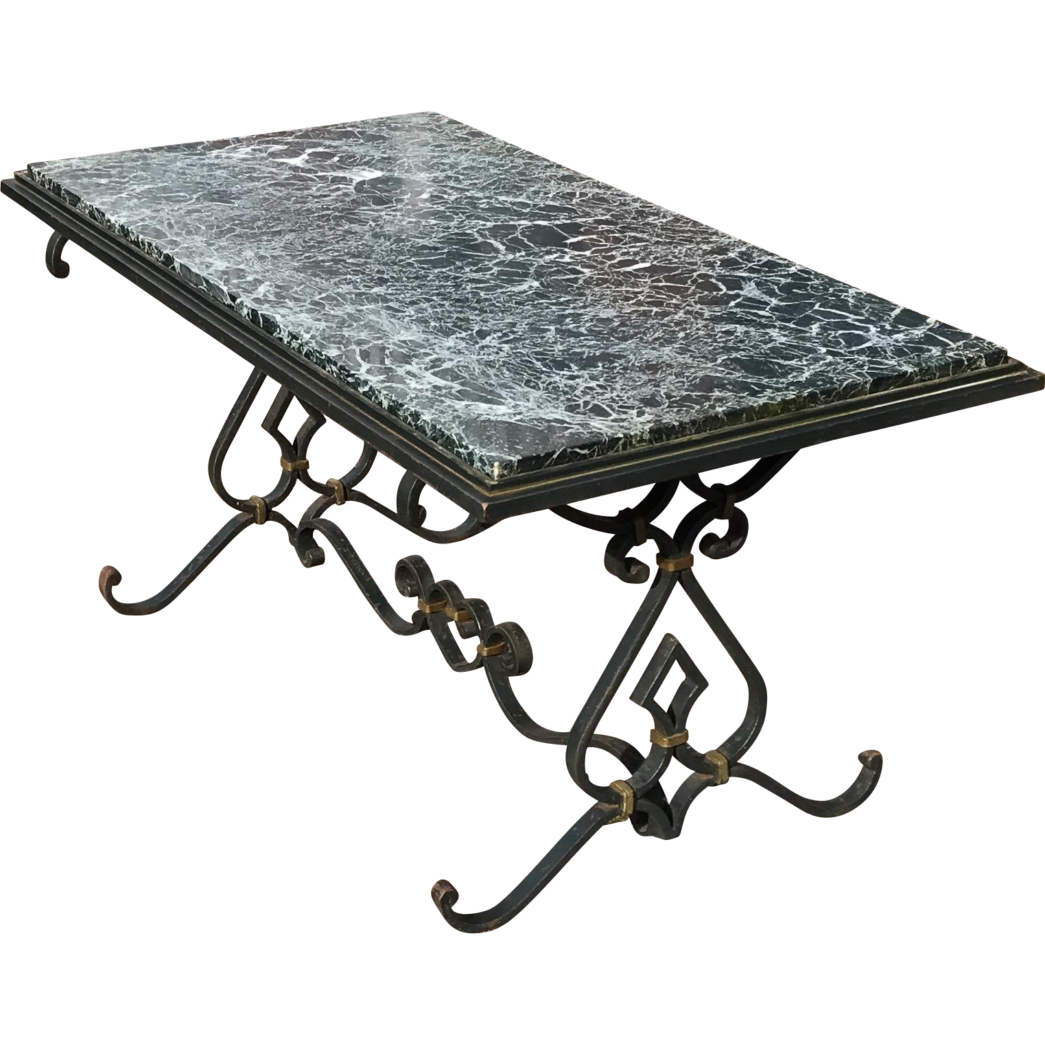 French Vintage Wrought Iron Coffee Table with Marble Top