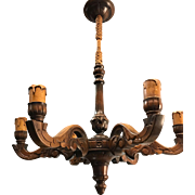 Good Size Lovely Sculptured Wood  Chandelier / Pendant Light