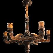 Good Size Lovely Sculptured Wood  Chandelier / Pendant Light
