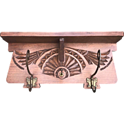 1920 Folk Art Carved Wood Wall Coat-Rack