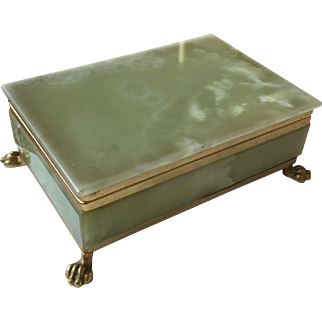 1950 Shaped Onyx Brass Box on Lion Feet