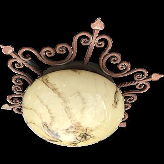 Wrought Iron Ceiling Light Glass Globe Shade