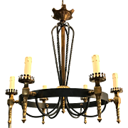 Vintage Wrought Iron and Brass Pendant Light Fixture