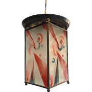 Lovely Art Deco Brass and Hand Painted Glass Pendant Ceiling Lamp